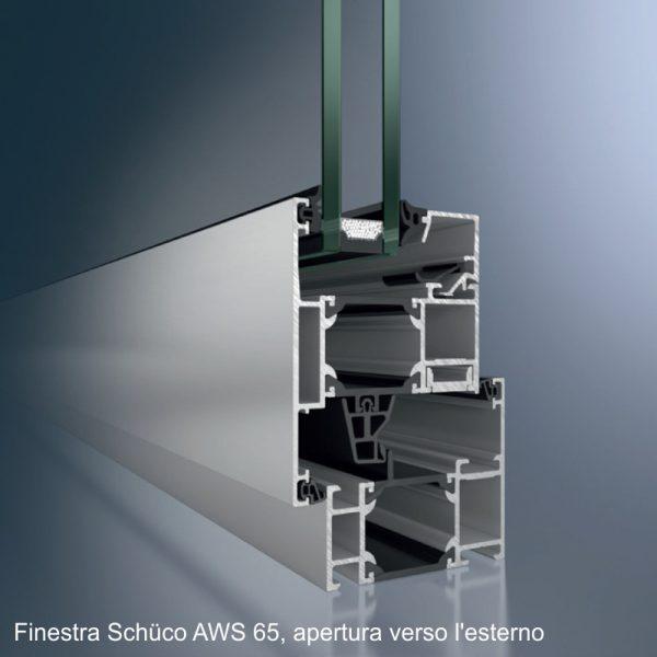 Finestra in alluminio Bari e Brindisi Aws 65 Schüco apertura verso l'esterno