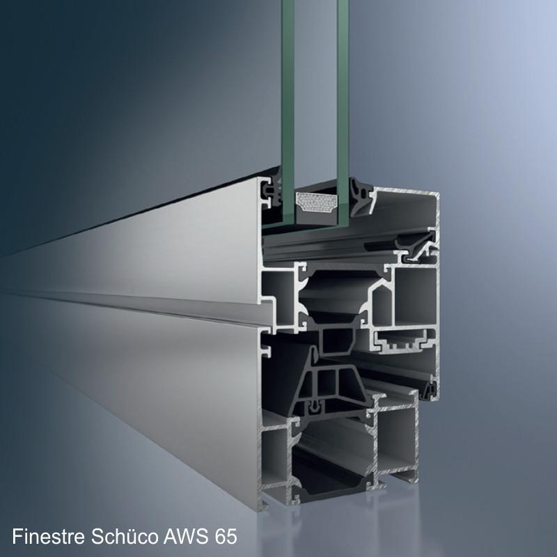 Finestra in alluminio Bari e Brindisi Aws 65 Schüco